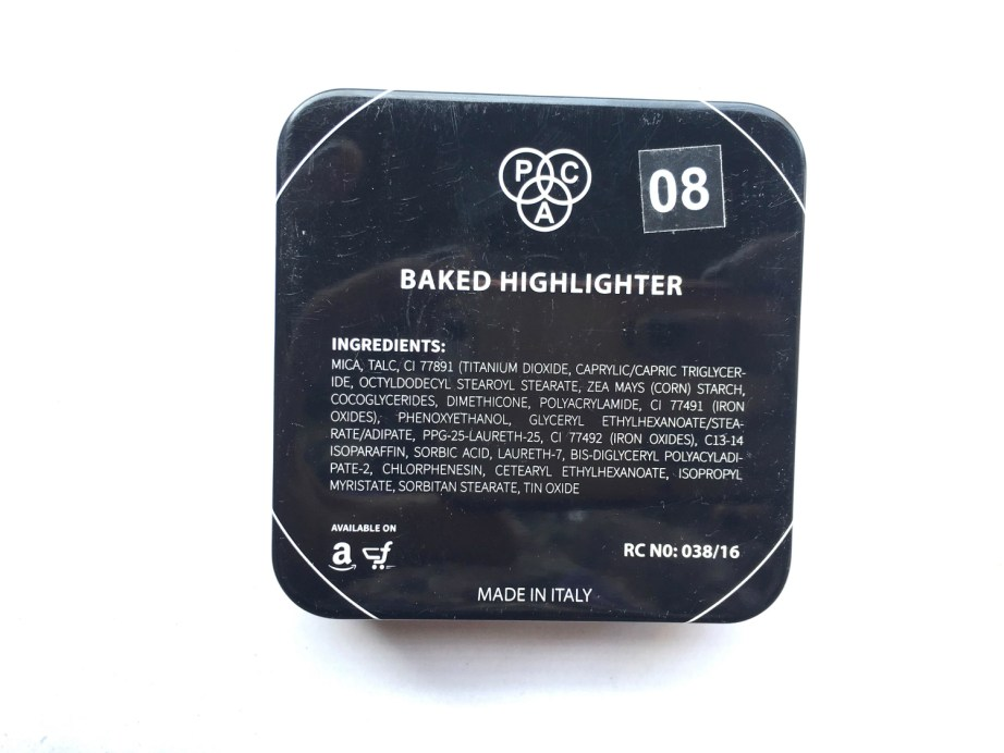 PAC Cosmetics Baked Highlighter 08 Review, Swatches back