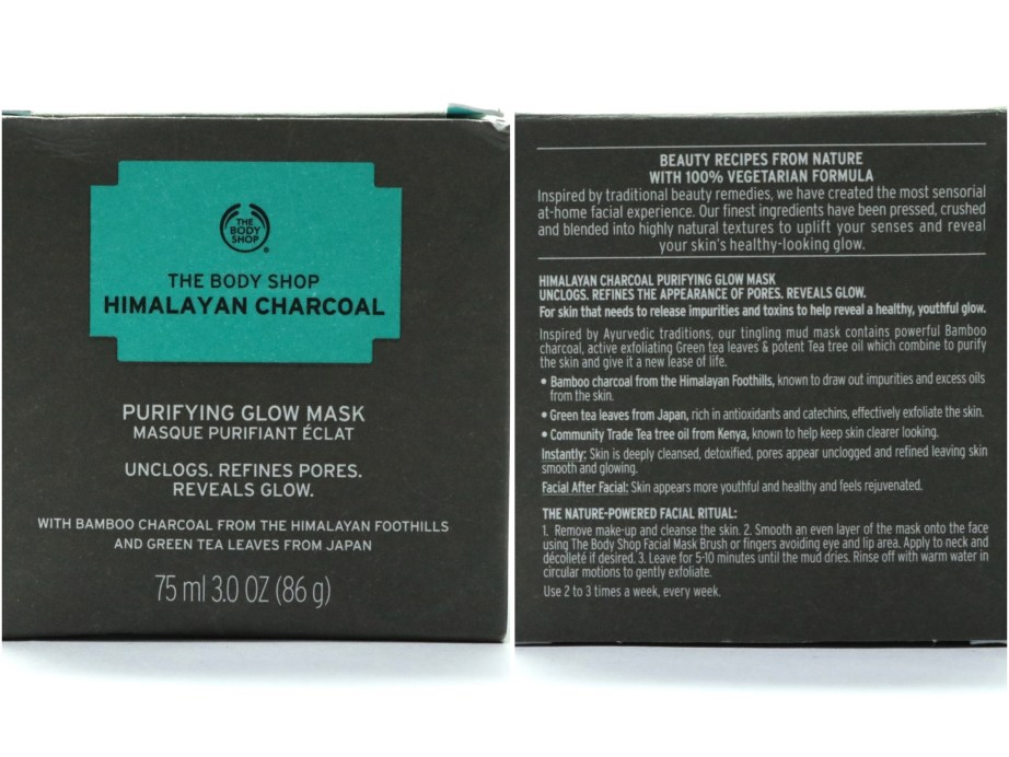 The Body Shop Himalayan Charcoal Purifying Glow Mask Review, Swatches box