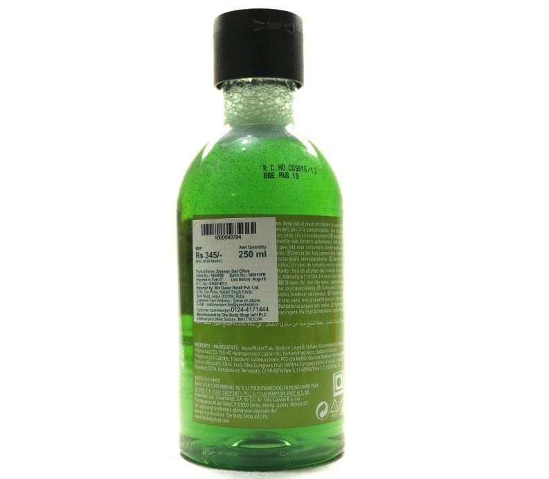 The Body Shop Olive Shower Gel Review back
