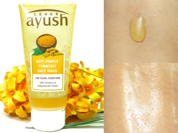 Lever Ayush Anti Pimple Turmeric Face Wash Review Swatches