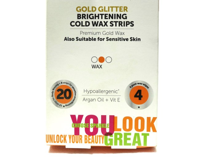 YLG Gold Glitter Brightening Cold Wax Strips Review info