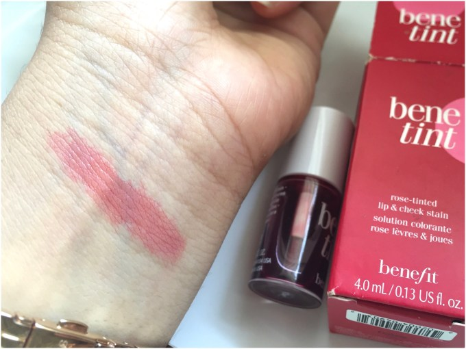 Benefit Benetint Cheek & Lip Stain Review, Swatches on skin