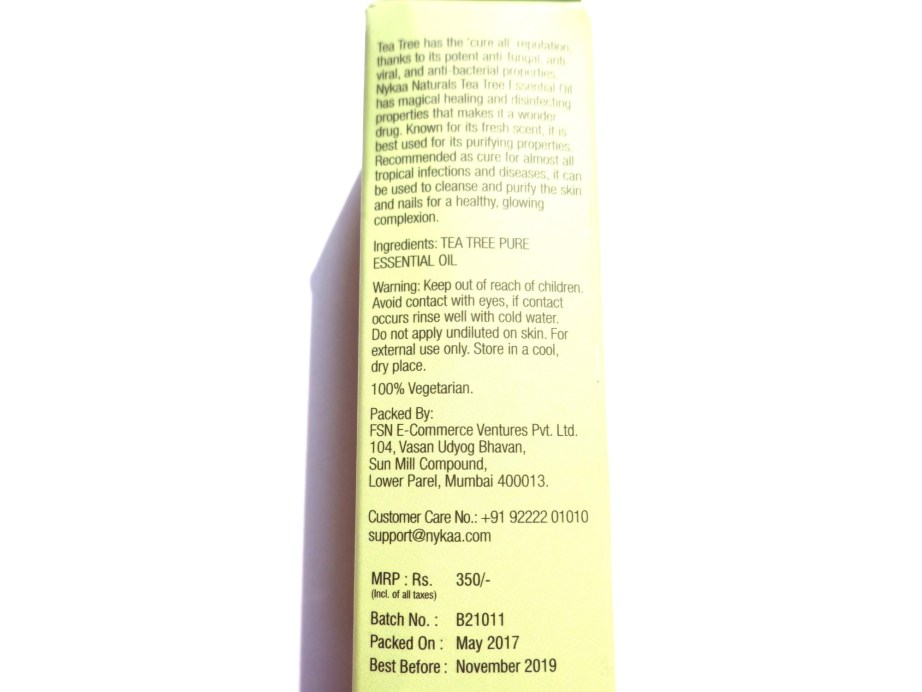 Nykaa Naturals Pure Essential Oil Tea Tree Review 6