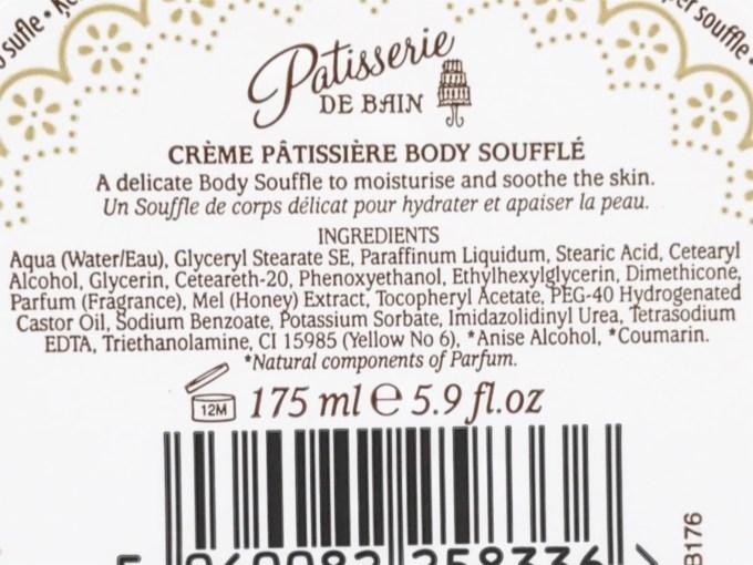 Patisserie de Bain Body Souffle Crème Patissiere Review Ingredients