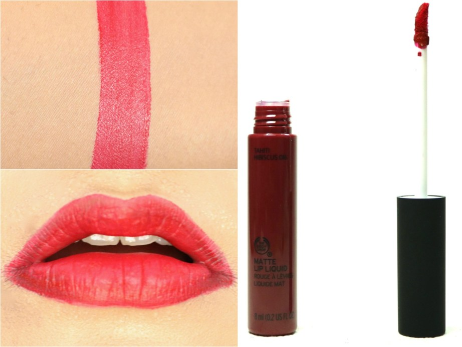 The Body Shop Matte Lip Liquid Lipstick Tahiti Hibiscus Review, Swatches