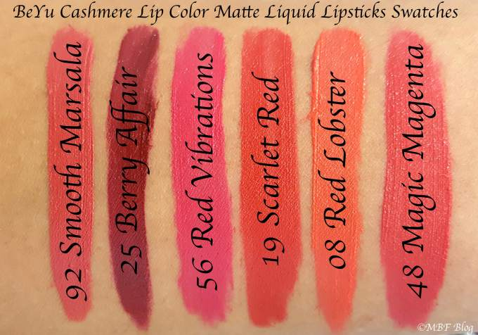 All BeYu Cashmere Lip Color Matte Liquid Lipsticks Shades Review, Swatches 92 Smooth Marsala 25 Berry Affair 56 Red Vibrations 19 Scarlet Red 8 Lobster red 48 magic magenta