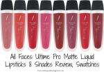 All Faces Ultime Pro Matte Liquid Lipsticks 8 Shades Review, Swatches