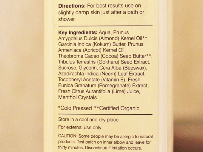 Forest Essentials Ultra Rich Body Lotion Iced Pomegranate & Kerala Lime Review Ingredients
