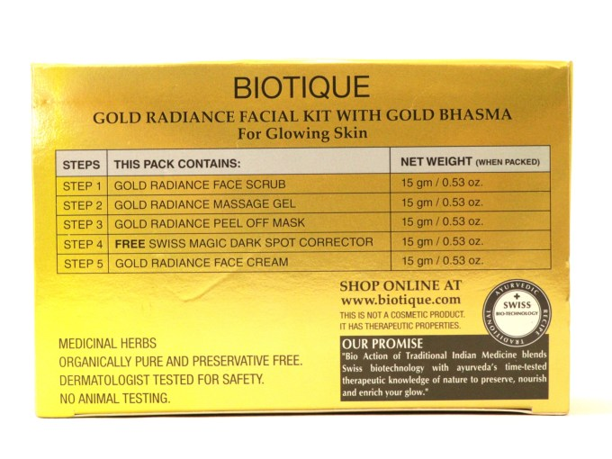 Biotique Gold Radiance Facial Kit with Gold Bhasma Review, Swatches Info