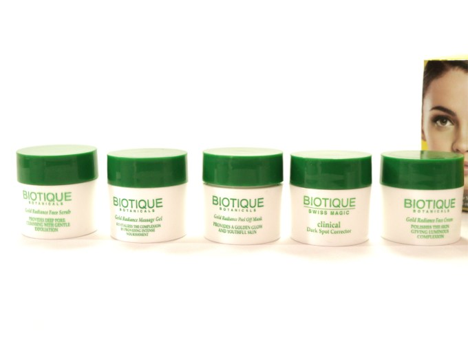 Biotique Gold Radiance Facial Kit with Gold Bhasma Review, Swatches MBF Blog