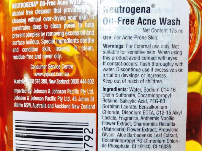 Neutrogena Oil Free Acne Face Wash with Salicylic Acid Review Ingredients