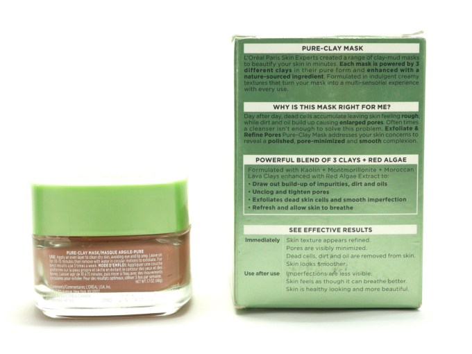 L'Oreal Exfoliate & Refine Pores Clay Mask Review, Swatches details