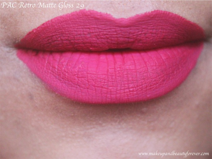 PAC Retro Matte Gloss 29 Review, Swatches Bright Pink Lips MBF Blog