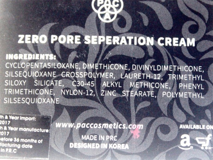PAC Zero Pore Separation Cream Review, Shades, Swatches Ingredients