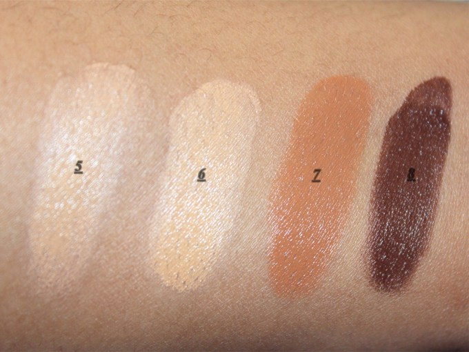 Makeup Revolution Ultra Cover and Conceal Palette Review, Swatches bottom row