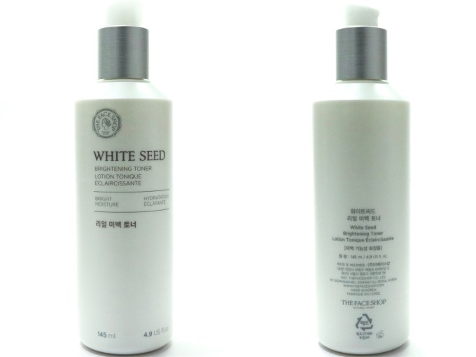 The Face Shop White Seed Brightening Toner Review MBF