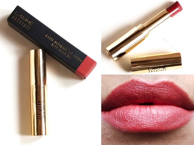 Lakme Absolute Matte Ultimate Lip Color Royal Rust Review, Swatches