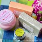 fuschia handmade soaps, scrub, lip balm
