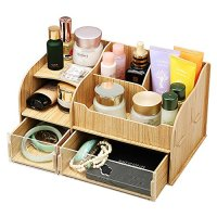 EtechMart Wooden Decorative Desktop Cosmetic Organizer Makeup Storage Assembly Needed