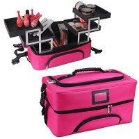 Travelmall Professional Beauty Train Case Large Make Up Artist Organizer makeup Box Kit Portable Shoulder Bag With Adjustable Dividers Rose red
