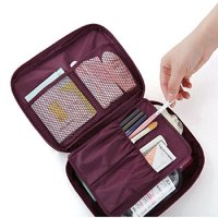 Cosmetic Makeup Bag Toiletry Travel Kit Organizer New 2015 (Flower in Wine Red)