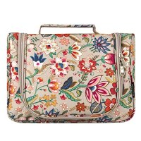 Cosmetic Bag, Yeiotsy Retro Flower Hanging Travel Toiletry Bag Girls Makeup Bag Toiletry Organizer for Women (Khaki)