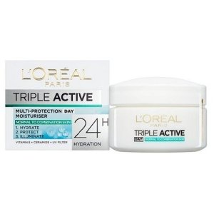 L'Oréal Paris Dermo-Expertise Triple Active Day Multi-Protection Moisturizer before applying foundation