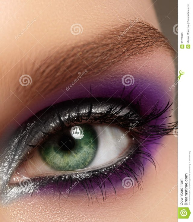 Black And Silver Eye Makeup Closeup Female Eye With Fashion Bright Make Up Beautiful Silver