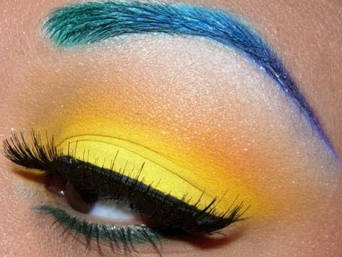 Bright Color Eye Makeup Colorful Brows And Bright Yellow Eyeshadow Tutorial Youtube