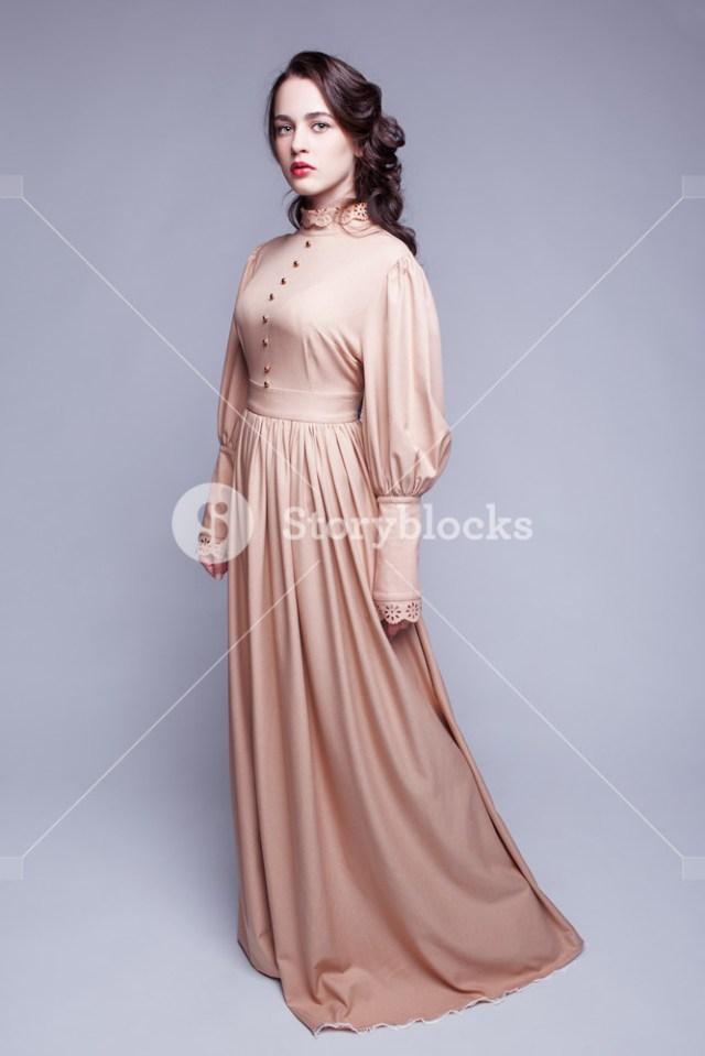 Eye Makeup For Beige Dress Full Length Portrait Of Young Beautiful Woman In Retro Beige Dress