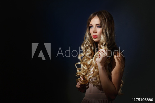 Eye Makeup For Beige Dress Insanely Beautiful Blonde Girl With Blue Eyes Pouting Lips Curly