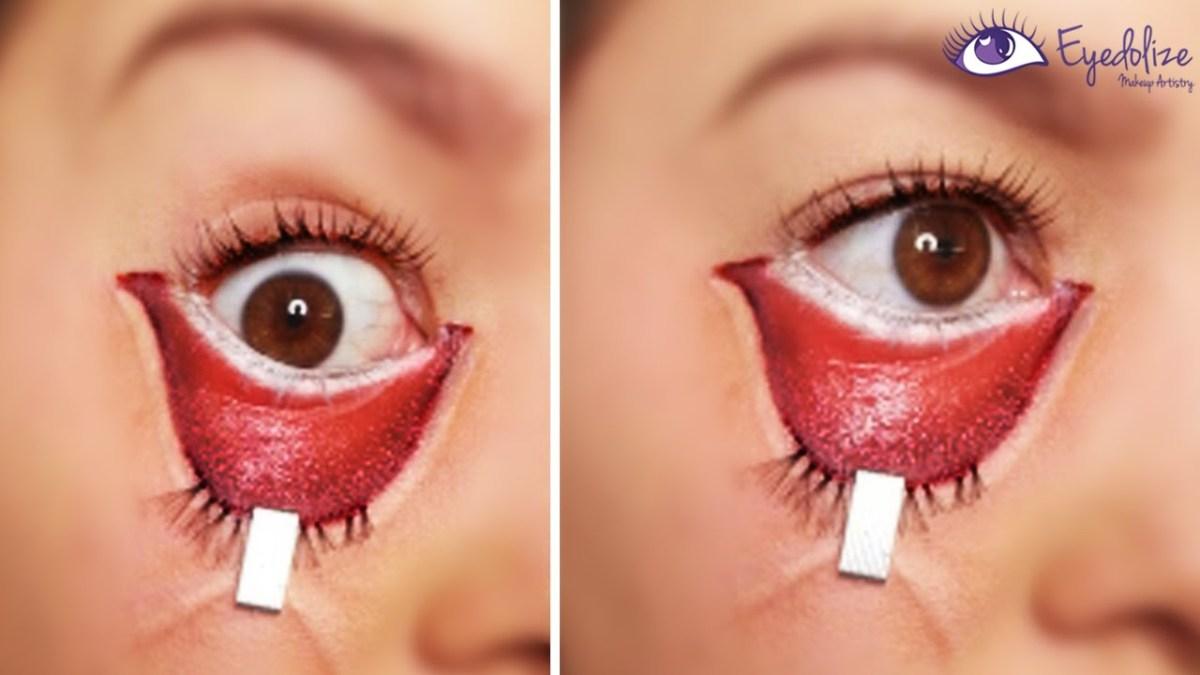 Halloween Eye Makeup Stapled Eye Halloween Makeup Tutorial Eyedolizemakeup Youtube