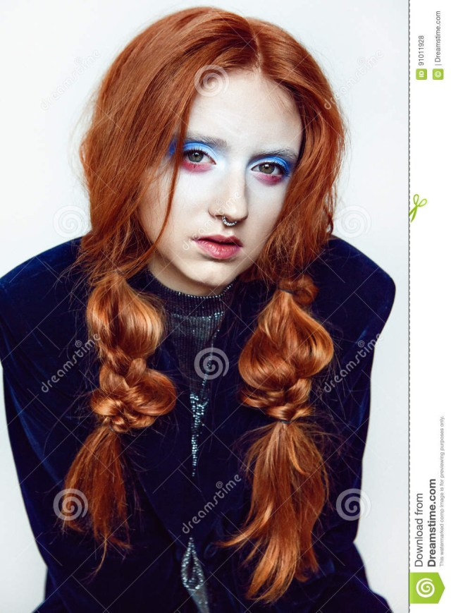Makeup For Red Hair And Brown Eyes Ginger Hair Beauty Clownish Makeup Stock Photo Image Of Model