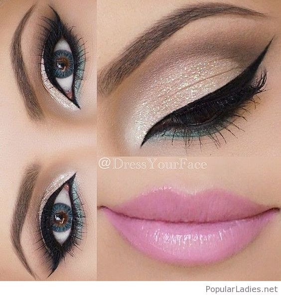 Pink And Silver Eye Makeup Silver And Green Eye Makeup With Pink Lips