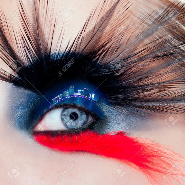 Red And Black Eye Makeup Blue Woman Eye Makeup Bird Inspired With Black And Red Feathers