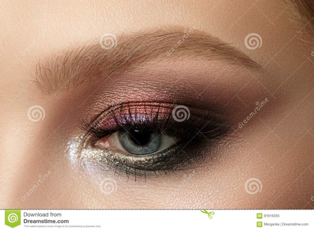 Red And Black Eye Makeup Close Up Of Blue Woman Eye With Smokey Eyes Makeup Stock Image