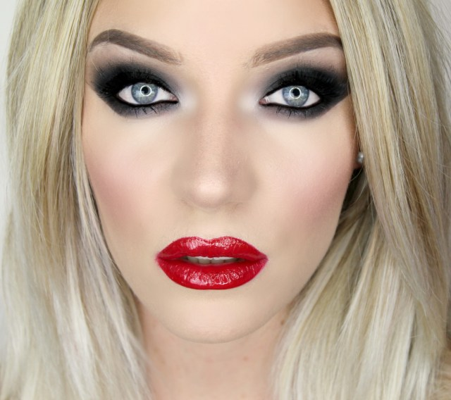 Red And Black Eye Makeup The Vamp Black Smoky Eyes Glossy Red Lip Sl