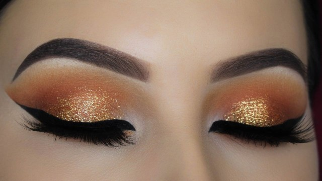 Shaded Eye Makeup Warm Orange Glitter Eye Makeup Tutorial Youtube