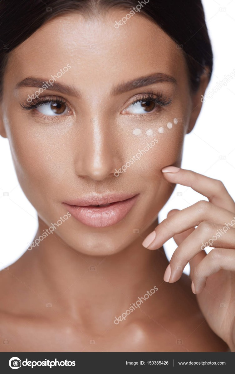 White Makeup Under Eyes Woman Beauty Face With Concealer Under Eyes And Beautiful Makeup