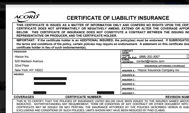 Hiscox Certificate of Liability Insurance