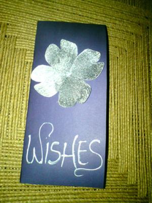 Silver On Purple Handmade Birthday Card
