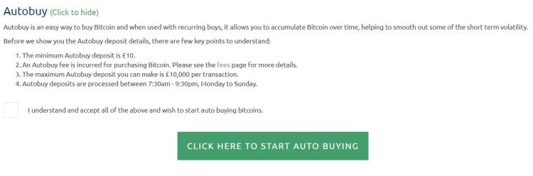 Coinfloor.co.uk autobuy terms - unique bank deposit details to automatically buy Bitcoin await on the next screen