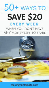 Do you struggle to save money? Is your weekly budget so tight that you can't save money? Here are 50+ ways to save $20 a week, even if you are on a really tight budget!