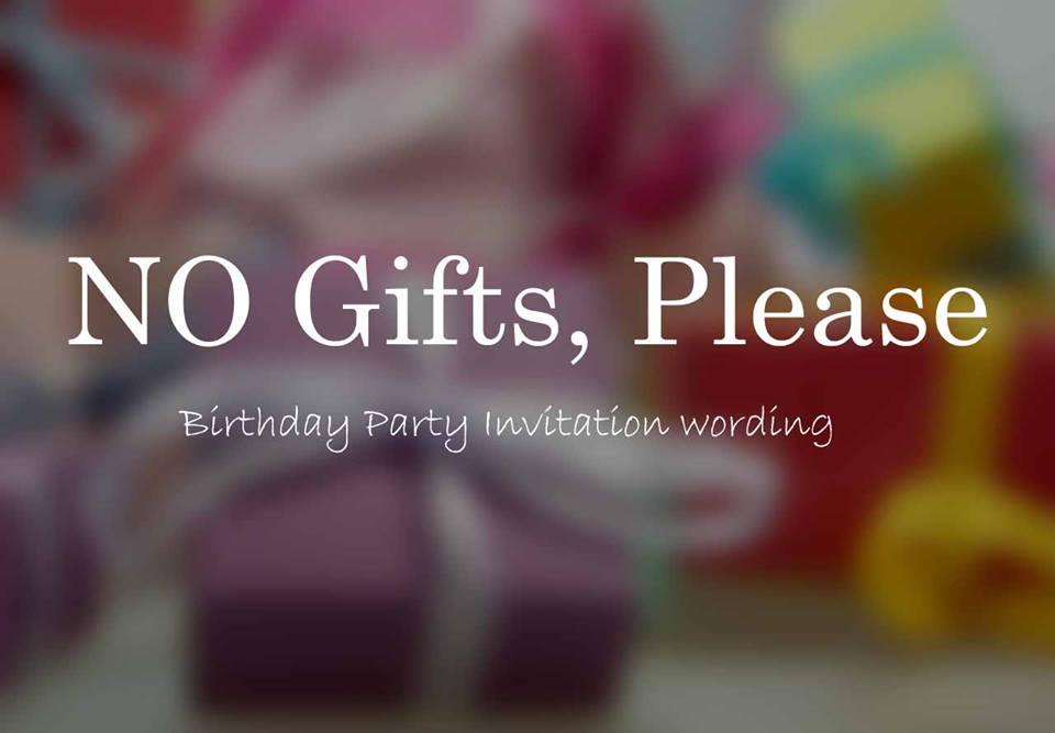 say no gifts on birthday invitation