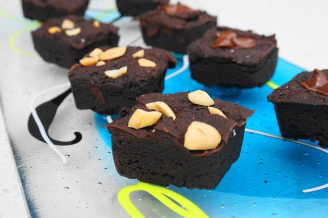 Dark Chocolate Peanut Butter Brownies displayed on a plate
