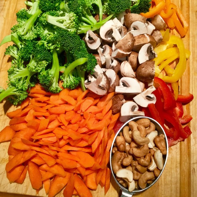 Vegetables cup up for stir fry