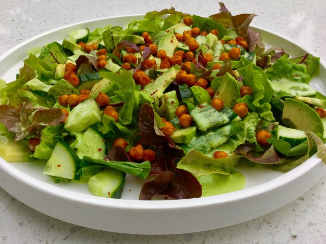 Eat your Greens Salad with Chickpea Croutons and Green Goddess Dressing