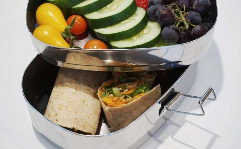 Healthy Packed Lunch Idea – Veggie Wrap with Apple Butter, Carrots and Sunflower Seeds