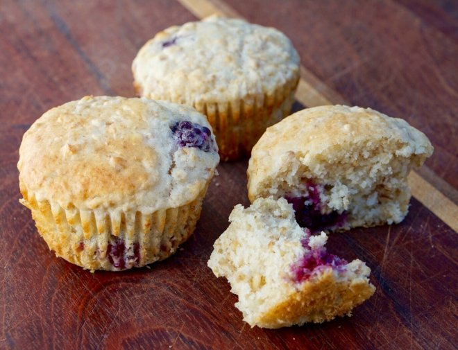 Buttermilk Oatmeal Muffins with Blackberries and Lemon