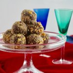 Truffles on a raised plate, with two small glasses